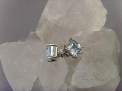 Blautopas Ohrstecker facettiert 925er Silber quadratisch