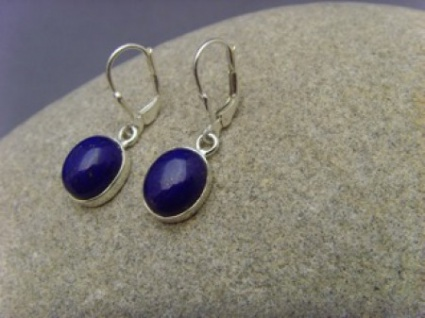 Lapis - Lazuli Ohrhänger 925 er Silber ovale Form
