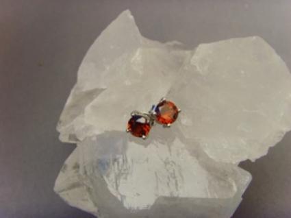 Granat Ohrstecker 925 er Silber rund - Vorschau 2
