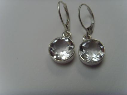 Bergkristall-Ohrhänger 925er Silber runde Form