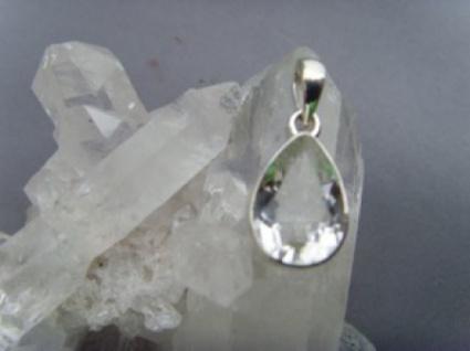 Bergkristall - Anhänger Tropfenform 925er Silber