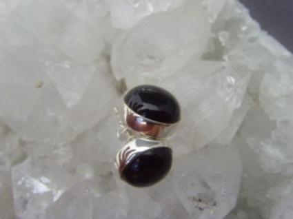 Ohrstecker schwarzer Onyx rund 925er Silber