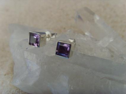Amethyst-Ohrstecker facettiert-quadratisch-925 Silber