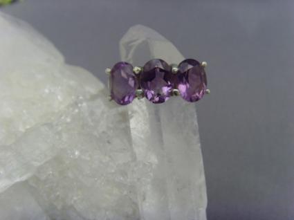 Amethyst - Ring 925er Silber Facettenschliff