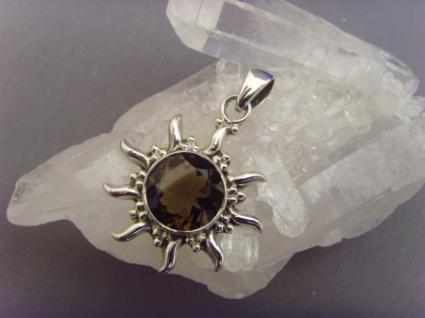 Inka Sonne Rauchquarz 925er Silber