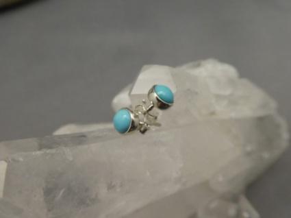 Ohrstecker : Arizona-Türkis - rund - 925er Silber
