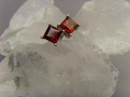 Ohrstecker Granat 925 er Silber quadratisch - Vorschau 2