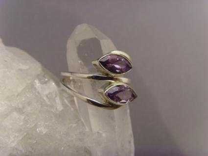 Amethyst - Ring 925er Silber Navettenform - Vorschau 3