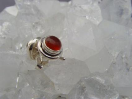 Karneol - Ohrstecker rund 925 er Silber