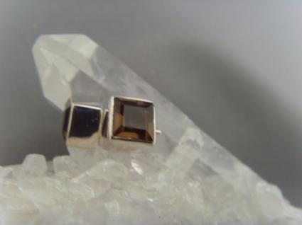 Ohrstecker-Rauchquarz facettiert - quadratisch - 925er Silber