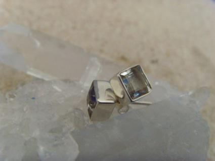 Ohrstecker-Bergkristall facettiert - quadratisch - 925er Silber
