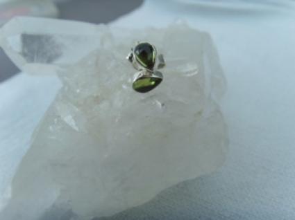 Peridot - Ohrstecker 925er Silber Herzform Cabochonschliff