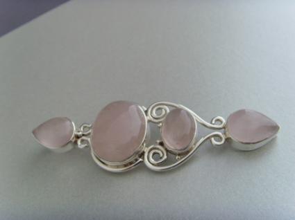 Rosenquarz-Anhänger (Jugendstil-Design) - 925er Silber