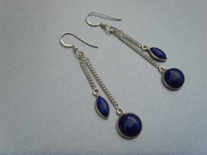 Ohrhänger-Lapis-Lazuli elegante Form - 925er Silber