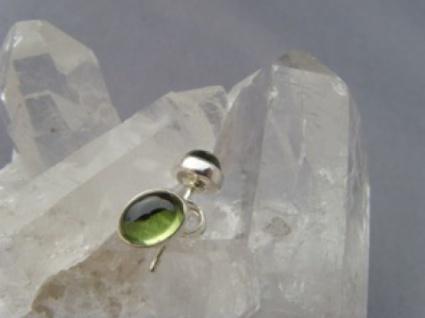 Peridot Ohrstecker - oval - 925 er Silber