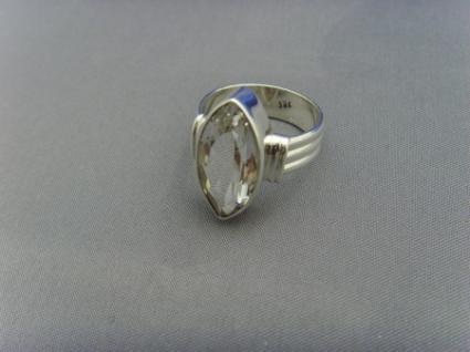 Bergkristall - Ring 925er Silber Facettenschliff - Navettenform