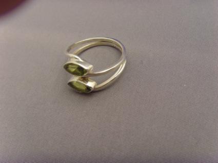 Peridot - Ring 925er Silber Navettenform - Vorschau 5