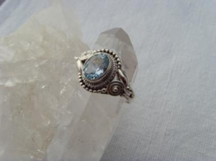 Blautopas-Ring filigrane Handarbeit 925er Silber - Vorschau 2
