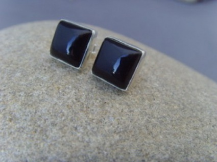 Ohrstecker schwarzer Onyx quadratisch 925er Silber