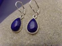 Lapis - Lazuli Ohrhänger 925 Silber Tropfenform