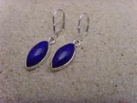 Lapis - Lazuli Ohrhänger 925 Silber Navettenform