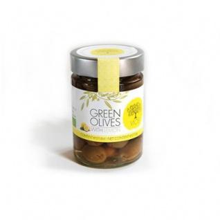 VIOS 05060 Grüne Oliven gefüllt mit Zitrone 210g im Glas von Kreta
