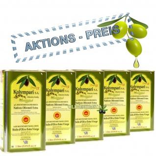 5x KOLYMPARI PDO 04035 Natives Olivenöl Extra 5000 ml Mihelakis Kolymvari AKTION 5x1000ml Dose