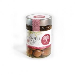 .VIOS 05030 Grüne Oliven gefüllt mit Knoblauch im Glas