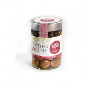 .VIOS 05030 Grüne Oliven mit Knoblauch im Glas