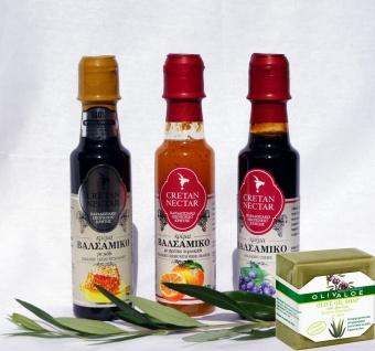 CRETAN NECTAR - SET 4 tlg. Nektar Balsamico-Creme & Aloe Vera Naturseife von Chania Kreta