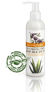 OLIVALOE 00164 - Sun Protection Body Milk SPF30 - Sonnenschutz-Körpermilch LSF30, 200ml, Naturkosmetik