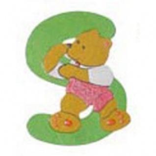 """Holz-Buchstabe """" S"""" - Teddy, Türschild"""