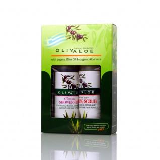 OLIVALOE 00256 - GESCHENKSET 2tlg., Shower Gel CLASSIC 90ml + Foaming Scrub 90ml, Naturkosmetik