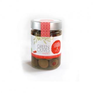 VIOS 05040 Grüne Oliven gefüllt mit Piment 210g im Glas von Kreta