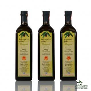 3x KOLYMPARI PDO 04025 Natives Olivenöl Extra 1 Liter Flasche (AKTION! 3 Flaschen a 1000 ml Kolymvari)