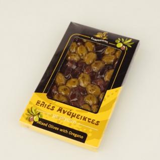 EFROSINI SPICES 640 - Gemischte Oliven mit Oregano ganze Frucht 250g, vakuumverpackt , aus Chania Kreta