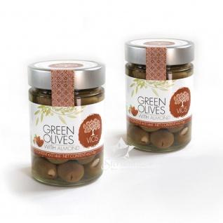 VIOS 05050 - 2x Grüne Oliven gefüllt mit Mandel im Glas (=420g netto) von Kreta