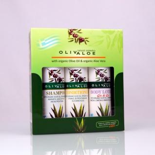 OLIVALOE 00262 - GESCHENKSET 3tlg., Shampoo 90ml + Conditioner 90ml + Body Lotion mit ?3 & ?6 90ml, Naturkosmetik