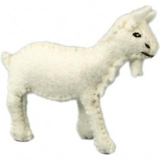 GLÜCKSKÄFER 524092 - Ziege klein weiß, Filz