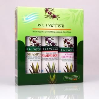 OLIVALOE 00263 - GESCHENKSET 3tlg., Shampoo 90ml + Duschgel CLASSIC 90ml + Peeling 90ml, Naturkosmetik