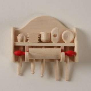 Bodo Hennig 27508 - Küchengeräte aus Holz für Puppenstube