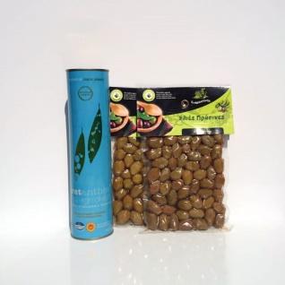 PROBIERSET 20029 - 3tlg. CRETANTHOS® Olivenöl Mountain EVOO Extra Virgin 750ml und 500g grüne Oliven von Kreta