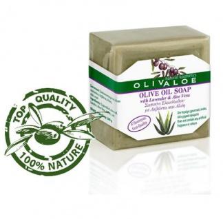OLIVALOE 00199 - Handgemachte traditionelle Olivenölseife mit Aloe Vera & Lavendel 200g, Naturkosmetik