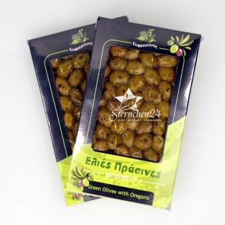 EFROSINI SPICES 610 - 2er Set Grüne Oliven ganz Frucht mit Oregano vakuumverpackt (2x250g), aus Chania Kreta