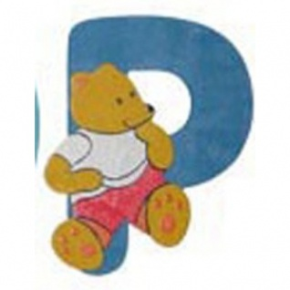 """Holz-Buchstabe """" P"""" - Teddy, Türschild"""