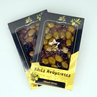 EFROSINI SPICES 620 - 2er Set Gemischte Oliven ganz Frucht vakuumverpackt (2x250g), aus Chania Kreta