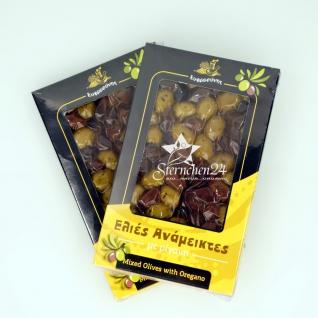 EFROSINI SPICES 640 - 2er Set Gemischte Oliven mit Oregano ganze Frucht vakuumverpackt (2x250g), aus Chania Kreta
