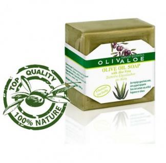 OLIVALOE 00197 - Handgemachte traditionelle Olivenölseife mit Aloe Vera 200g, Naturkosmetik