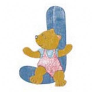 "Holz-Buchstabe "" J"" - Teddy, Türschild"
