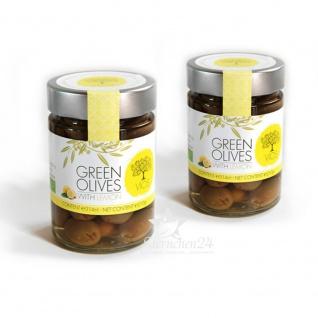 VIOS 05060 - 2x Grüne Oliven gefüllt mit Zitrone im Glas (=420g netto) von Kreta